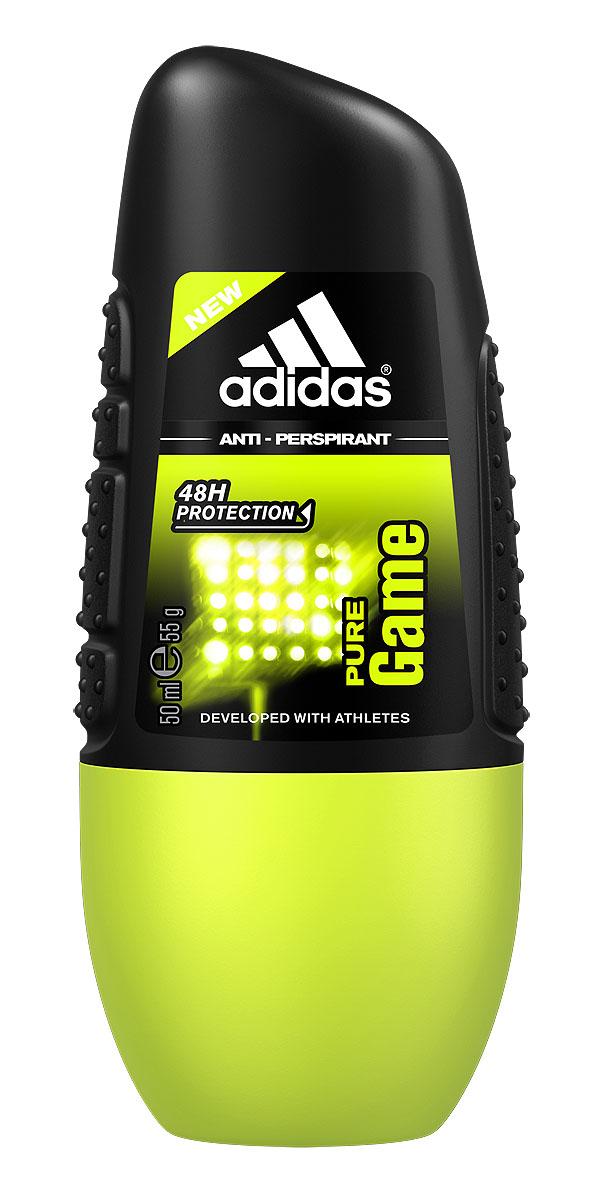 Adidas Дезодорант-антиперспирант ролик Pure Game Anti-Perspirant Roll-On, мужской, 50 мл34000925265/3607347411055Для активных целеустремленных мужчин.