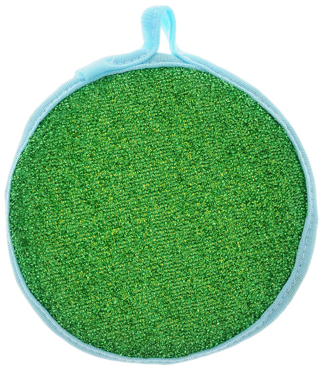 Губка для мытья посуды Youll love, двухсторонняя, для тефлона, цвет: зеленый, голубой58755_зеленый, голубойГубка для мытья посуды Youll love изготовлена из поролона. Она двухсторонняя: одна сторона выполнена из полипропиленовой металлизированной нити, а другая - из полимерных материалов. Губка подходит для очистки сильно загрязненных кухонных поверхностей, а также для мытья посуды из нержавеющей стали и с тефлоновым покрытием. Материал: полипропиленовая металлизированная нить, поролон, полимерные материалы. Размер губки: 12 х 12 х 2,5 см.