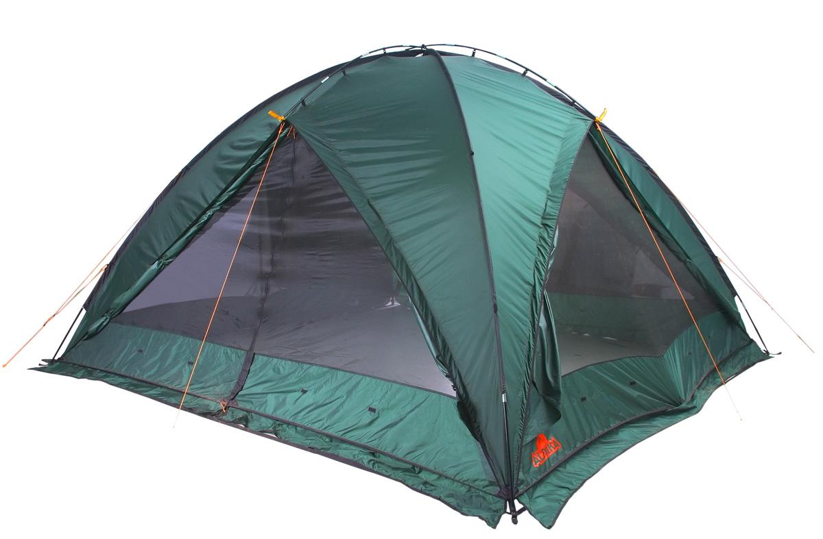 Палатка Alexika Summer House Green9170.0201Большая, устойчивая палатка с высоким потолком для организации столовой или кухни. Хорошо защищает от ветра и дождя. При наличии пола в виде короба палатка может использоваться для ночевки 5 или менее человек. Вес: 13,1 кг. Количество мест. Сезонность: весна-осень. Размер: 400 х 400 х 215 см. Размер в чехле: 68 х 25 см. Материал тента: Polyester 190T PU. Материал дна: Polyethylene 4000 mm. Внутренняя палатка: нет. Материал дуг: Fib 13 mm. Ветроустойчивость: средняя. Количество входов: 2. Цвет: зеленый. Область применения: кемпинг. Технологии: огнеупорная пропитка тента; нагруженные элементы палатки усилены прочным материалом; швы проклеены термоусадочной лентой; антимоскитные сетки на входе; съемный пол; юбка по периметру; чехол - компрессионный мешок.