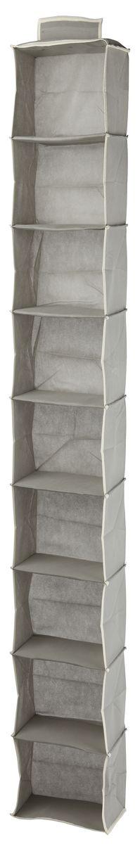 Кофр подвесной White Fox Standart, 9 полок, цвет: серый, 15 х 30 х 128 смWHHH10-337Коллекция Standart от White Fox изготовлена из нетканного полотна, наиболее популярного среди товаров для хранения вещей. В коллекции представлены самые популярные вещи: подвесные кофры, короба с крышками и без, мягкие чехлы для вещей, чехлы для костюмов. Все изделия упакованы в компактную упаковку, которая имеет подвес. Короба складываются.