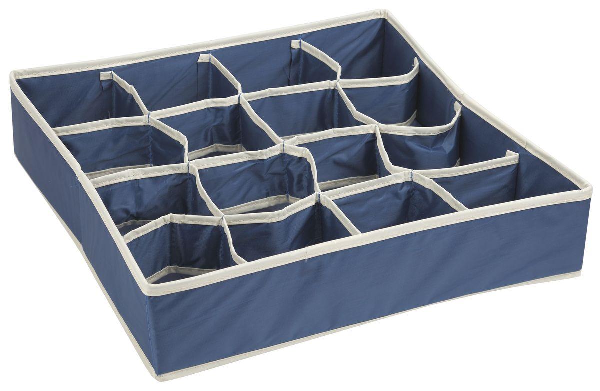 Короб для хранения White Fox Comfort, с ячейками, цвет: голубой, 40 х 40 х 9 смWHHH10-356Коллекция Comfort от White Fox изготовлена из полиэстера с пропиткой. Особенность товаров в том, что их можно протирать, в них не накапливается пыль и вещи остаются чистыми. В коллекции представлены самые популярные вещи: подвесные кофры, короба с крышками и без, мягкие чехлы для вещей, чехлы для костюмов. Все изделия упакованы в компактную упаковку, которая имеет подвес. Короба складываются.