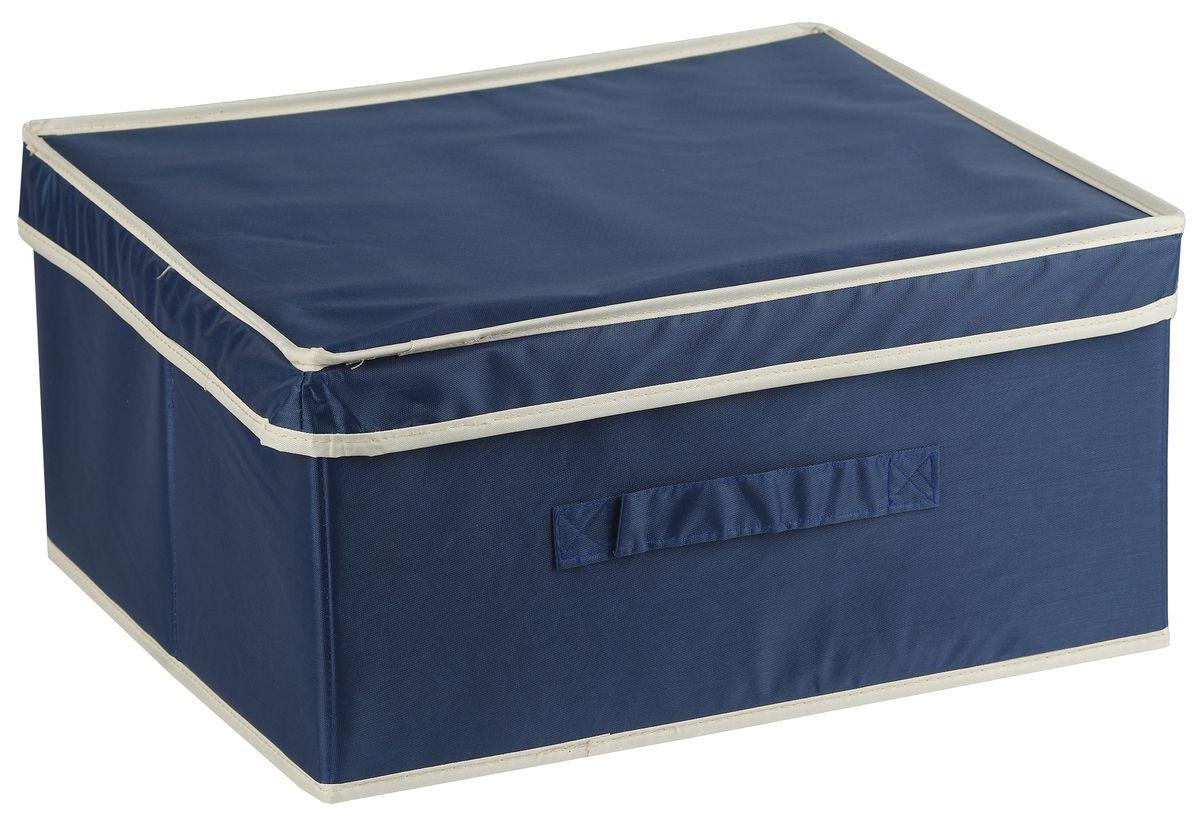 Короб для хранения White Fox Comfort, с крышкой, цвет: синий, 46 х 33 х 25 смWHHH10-358Короб для хранения White Fox Comfort изготовлен из полиэстера с пропиткой. Изделие можно протирать, в нем не накапливается пыль, и вещи остаются чистыми. Спереди расположена ручка. Короб имеет складную конструкцию.
