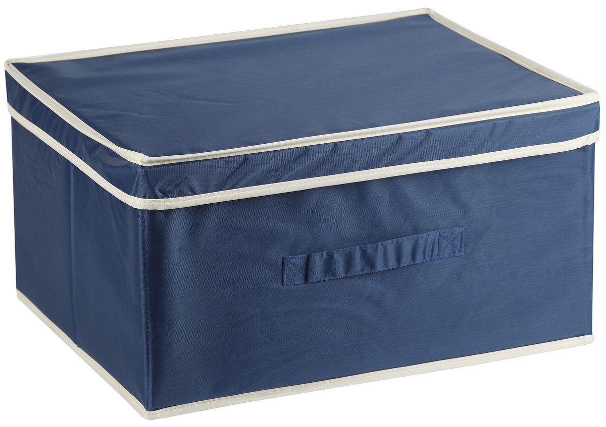 Короб для хранения White Fox Comfort, с крышкой, цвет: голубой, 43 х 33 х 22 смWHHH10-359Коллекция Comfort от White Fox изготовлена из полиэстера с пропиткой. Особенность товаров в том, что их можно протирать, в них не накапливается пыль и вещи остаются чистыми. В коллекции представлены самые популярные вещи: подвесные кофры, короба с крышками и без, мягкие чехлы для вещей, чехлы для костюмов. Все изделия упакованы в компактную упаковку, которая имеет подвес. Короба складываются.