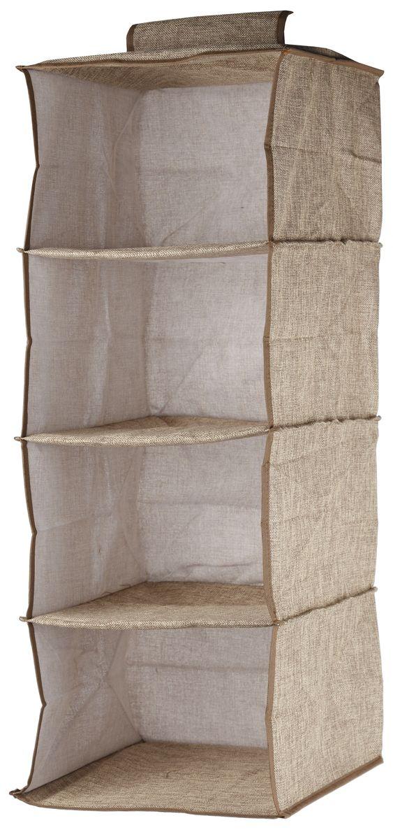 Кофр подвесной White Fox Linen, 4 полки, цвет: бежевый, 30 х 30 х 84 смWHHH10-367Подвесной кофр White Fox Linen, изготовленный из полиэстера стилизованного под лен, оснащен 4 полками. Он позволяет сохранять естественную вентиляцию и создает дополнительное пространство для хранения головных уборов, белья и мелких вещей. Благодаря удобной конструкции складывается и раскладывается одним движением. Для удобства в обращении имеется ручка. В сложенном виде изделие занимает минимум места, его легко хранить и перевозить. В таком кофре можно хранить всевозможные предметы: вещи, игрушки, рукоделие и многое другое.