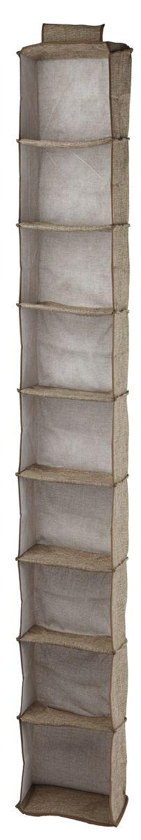 Кофр подвесной White Fox Linen, 9 полок, цвет: бежевый, 15 х 30 х 128 смWHHH10-369Коллекция Linen от White Fox изготовлена из полиэстера стилизованного под Лен. В коллекции представлены самые популярные вещи: подвесные кофры, короба с крышками и без, мягкие чехлы для вещей, чехлы для костюмов. Все изделия упакованы в компактную упаковку, которая имеет подвес. Короба складываются. Размер ячейки: 13 х 29 х 14 см.