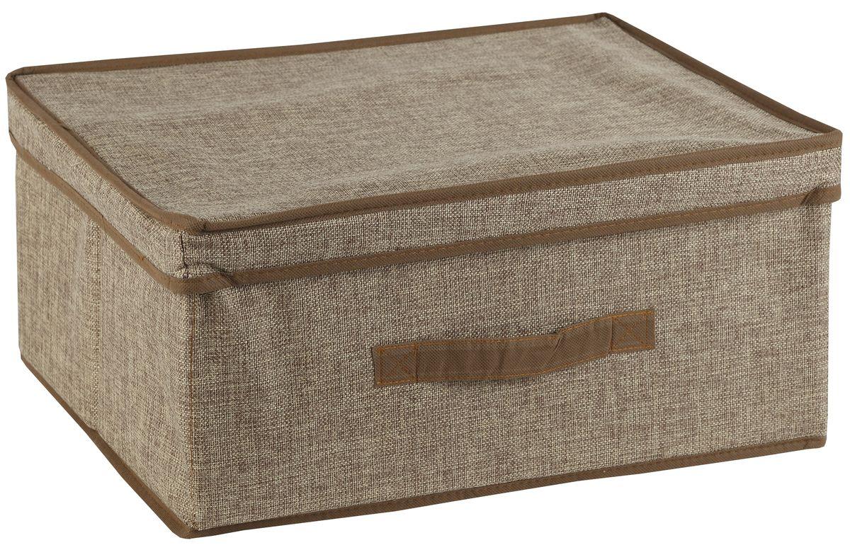 Короб для хранения White Fox Linen, с крышкой, цвет: бежевый, 38 х 33 х 18 смWHHH10-376Коллекция Linen от White Fox изготовлена из полиэстера стилизованного под Лен. В коллекции представлены самые популярные вещи: подвесные кофры, короба с крышками и без, мягкие чехлы для вещей, чехлы для костюмов. Все изделия упакованы в компактную упаковку, которая имеет подвес. Короба складываются.