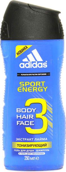 Adidas Гель для душа, шампунь и гель для умывания Body-Hair-Face Sport Energy, мужской, 250 мл3400107310/3614221131282Разработан при участии спортсменов. Защита 72 часа. Формула усилена капсулами лайма для дополнительной свежести.