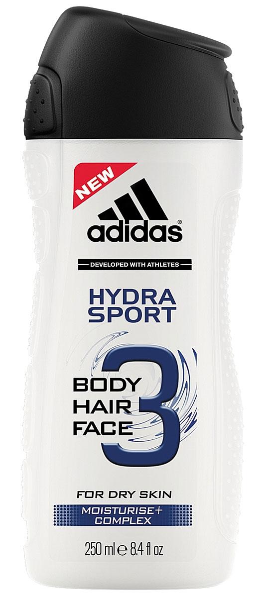 "Adidas Гель для душа, шампунь и гель для умывания ""Body-Hair-Face Hydra Sport"", мужской, 250 мл"