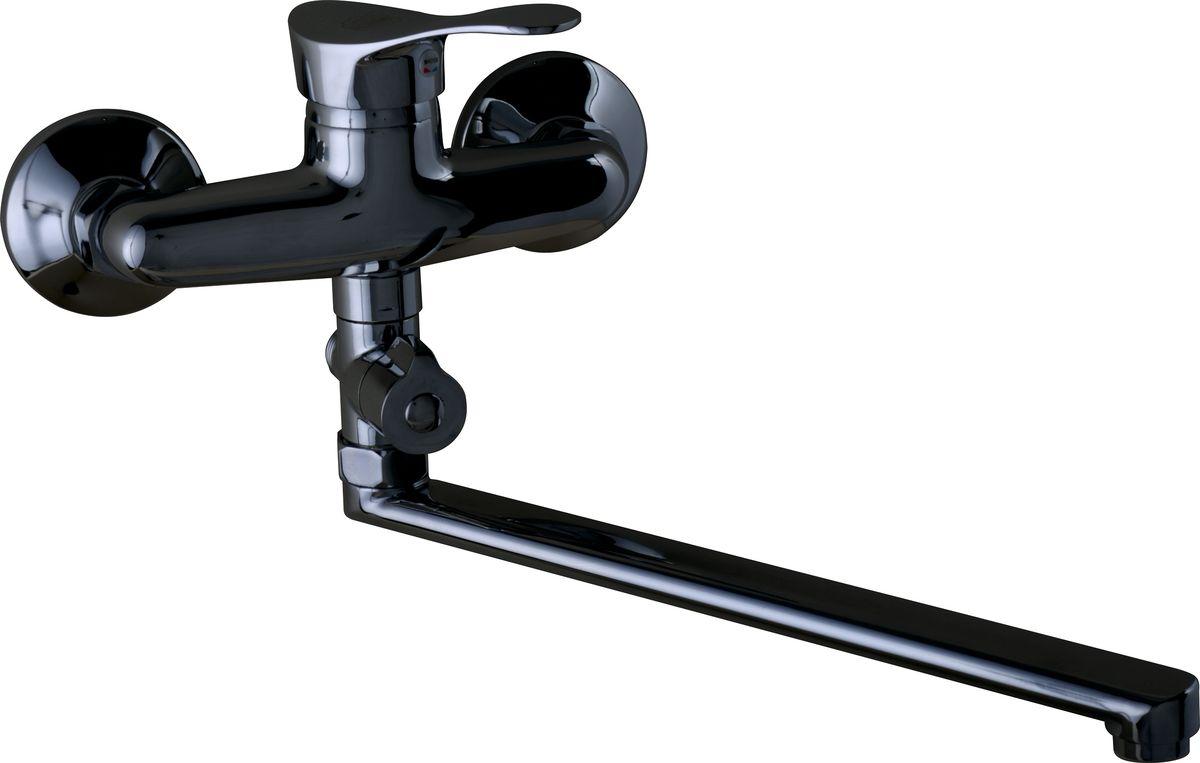 Смеситель для ванны РМС, с длинным поворотным гусаком. SL86-006. Цвет: хром