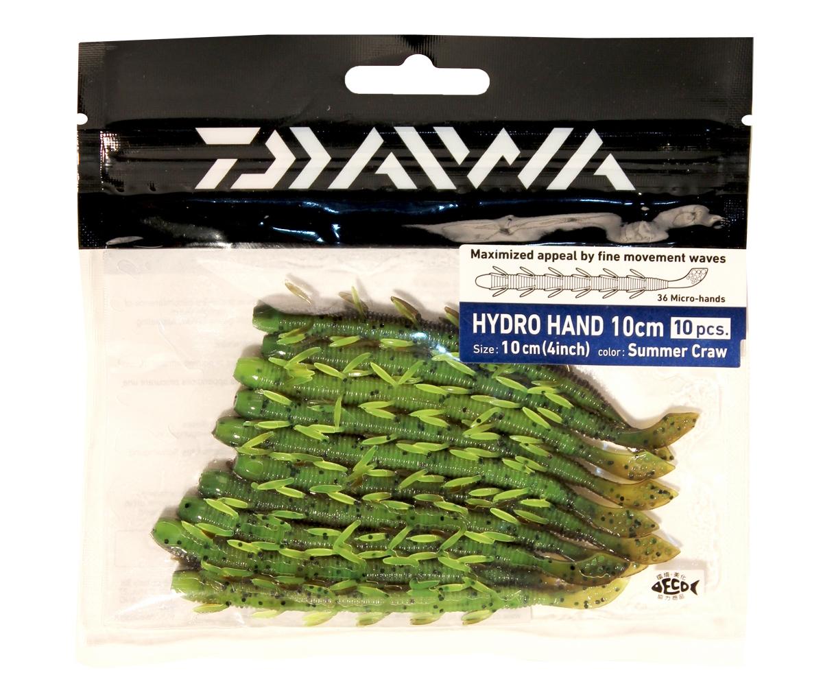 Твистер Daiwa Hydro Hand 10см, цвет: Summer Craw, 10шт. 5060250602HYDRO HAND - сделанная в Японии - мягкая приманка в форме червя. Маленькие лапки производят множество движений даже во времфя равномерной проводки, делая игру приманки невероятно реалистичной. Мягкая резина легко проглатывается окунем. Действительно выдающаяся приманка для ловли окуня. Идеально для использования с остнасткой Carolina или для ловли по методу Drop Shot. Особенна хороша для водоемов с течением.