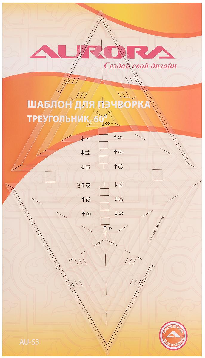 Шаблон для пэчворка Aurora Треугольник, 60°AU-S3Шаблон Aurora Треугольник, выполненный из прозрачного пластика, предназначен для создания геометрических форм, дизайна квилтов и изделий в стиле пэчворк. Позволяет изготовить до 10 вариантов равносторонних треугольников со стороной до 18 см. В шаблоне учтены припуски на швы 3 и 5 мм. Позволяет использовать как внутреннюю, так и внешнюю сторону треугольников.
