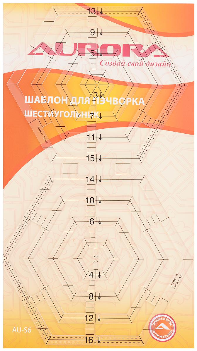 Шаблон для пэчворка Aurora ШестиугольникAU-S6Шаблон Aurora Шестиугольник, выполненный из прозрачного пластика, предназначен для создания геометрических форм, дизайна квилтов и изделий в стиле пэчворк. Позволяет изготовить до 10 вариантов шестиугольников, трапеций, ромбов со стороной до 9,2 см. В шаблоне учтены припуски на швы 3, 5 и 7 мм. Позволяет использовать как внутреннюю, так и внешнюю сторону шестиугольников.
