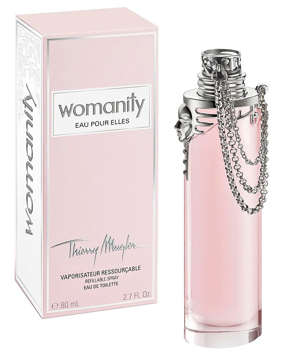 Thierry Mugler Туалетная вода Womanity Eau Pour Elles, женская, 80 мл13988Ароматические, фруктовые, цветочные. Клубника, инжир, экстракт икры.