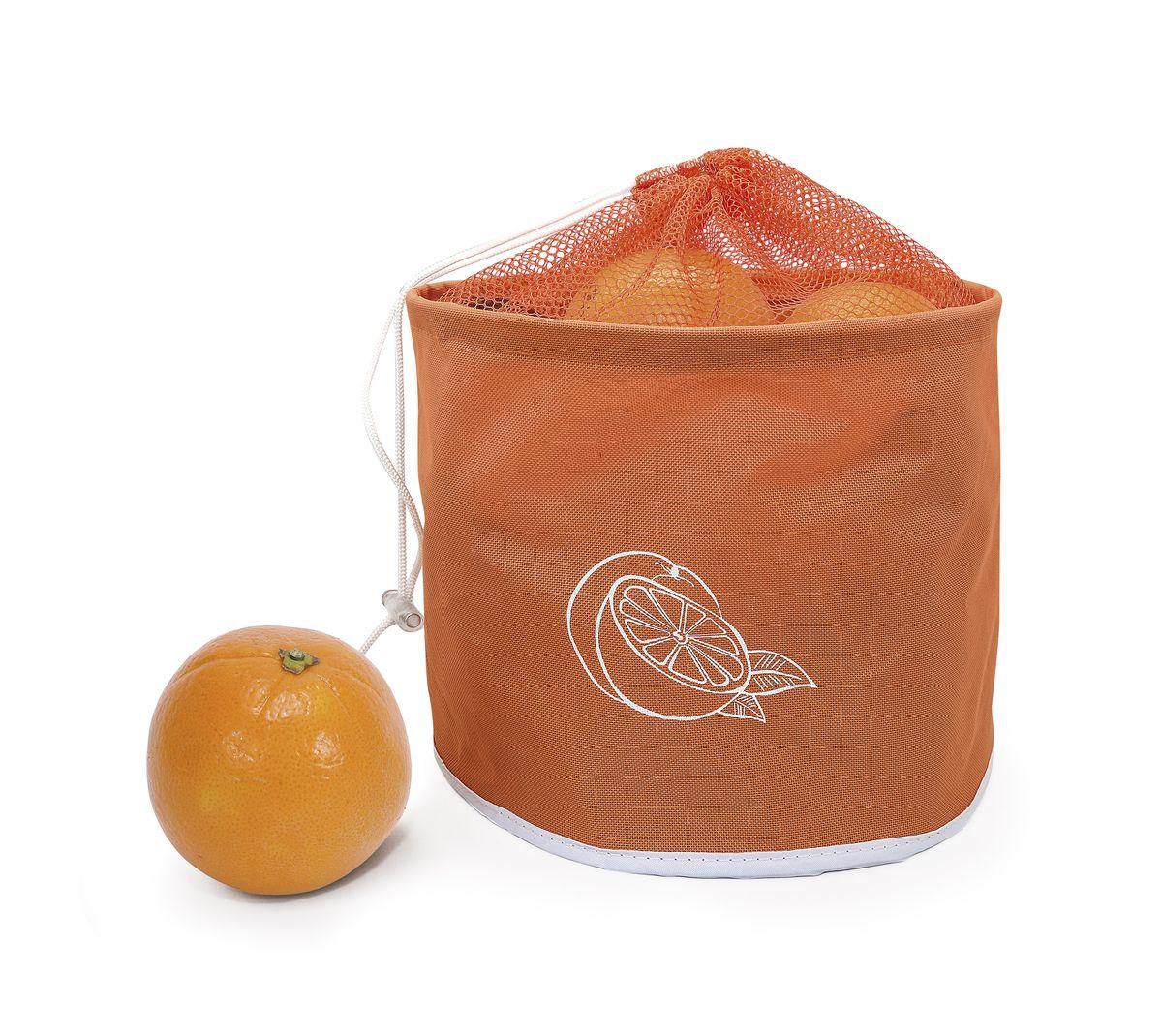 Сумка для хранения цитрусовых Iris, до 5 кг, цвет: оранжевыйI9511-TСохраните Ваши фрукты свежими! Сумка довольно вместительная, может держать до 5 кг. Очень компактная, складывается как обычный тряпичный пакет. Цвет - оранжевый