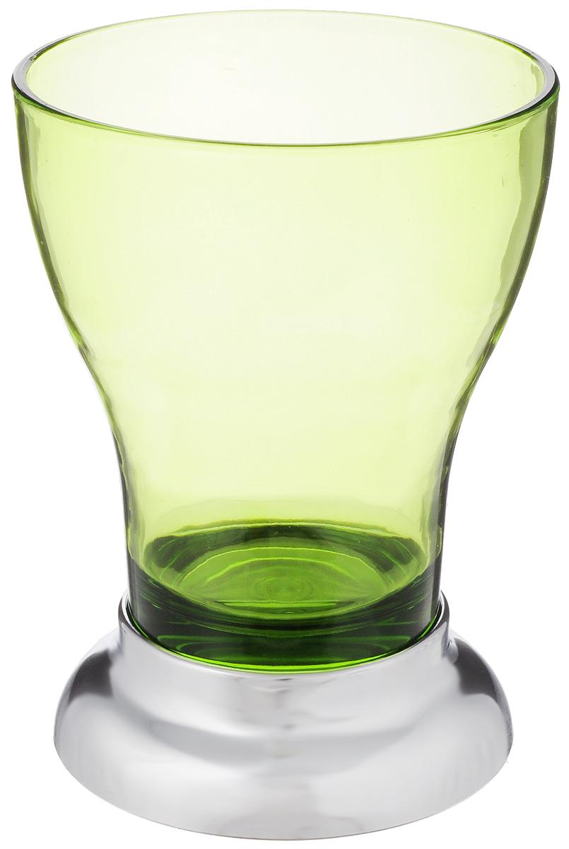 Стакан для ванной Fresh Code Фигурный, цвет: зеленый, серебристый, 350 мл64550_зеленый, серебристыйУдобный стакан Fresh Code Фигурный предназначен для хранения различных предметов для гигиенических процедур. Выполнен из акрила с эффектной элегантной формой. Идеально подойдет к любому стилю ванной комнаты. Основание выполнено из АБС-пластика с хромовым покрытием. Такой стакан создаст особую атмосферу уюта и максимального комфорта в ванной.