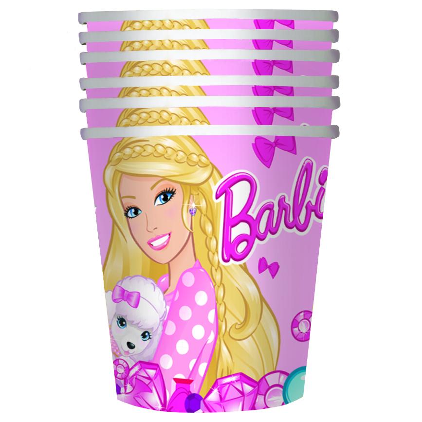 Barbie Стакан бумажный Барби 6 шт30297Удобные и практичные стаканы Барби со стильным дизайном созданы специально для детского праздника: они ярко украсят стол и привлекут внимание всех участников торжества. Одноразовые бумажные стаканы прекрасно удерживают напитки, почти невесомы, не могут разбиться, их не надо мыть. В наборе 6 бумажных стаканов объемом 210 мл, декорированных привлекательным принтом.