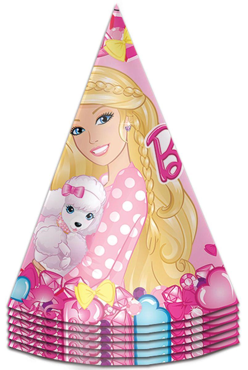 Barbie Колпак карнавальный детский Барби 6 шт30299Милые колпачки с изображением красавицы Барби очаруют всех участниц детского торжества и ярко дополнят их праздничные наряды. В наборе Барби 6 бумажных колпаков на резинках, декорированных ярким, привлекательным принтом.