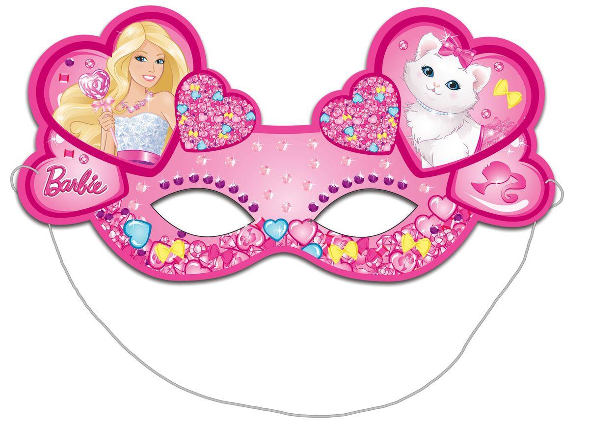 Barbie Маска карнавальная Барби 6 шт30304Очаровательные розовые маски с изображением красавицы Барби и ее милой кошечки необыкновенно украсят участниц детского праздника или карнавала, подарив маленьким модницам прекрасное настроение. В наборе Барби 6 ярких детских масок из плотной бумаги на резинках.