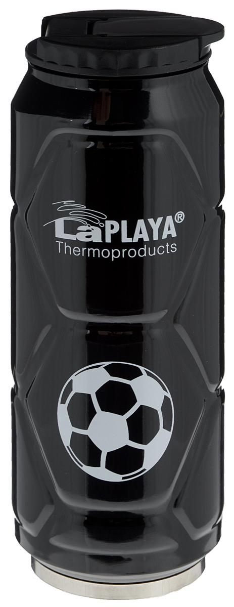 Кружка-термос LaPlaya Football Can, цвет: черный, 500 мл560105Кружка-термос LaPlaya Football Can идеально подходит для сохранения температуры горячих (6 часов) и холодных напитков (12 часов). Кружка имеет двойные стенки из нержавеющей стали и превосходную вакуумную изоляцию. Герметичная и гигиеничная крышка с клапаном легко открывается одной рукой. Изделие имеет компактные размеры, его легко размещать в большинстве автомобильных держателей стаканов или небольших сумках. При открывании стопор предотвращает резкий выход газов и расплескивание напитков. Кружка-термос идеальна для прохладительных газированных напитков. Изделие декорировано рельефом, изображением футболистов и надписью: Goal!. Диаметр горлышка: 6 см. Высота термоса: 19 см.