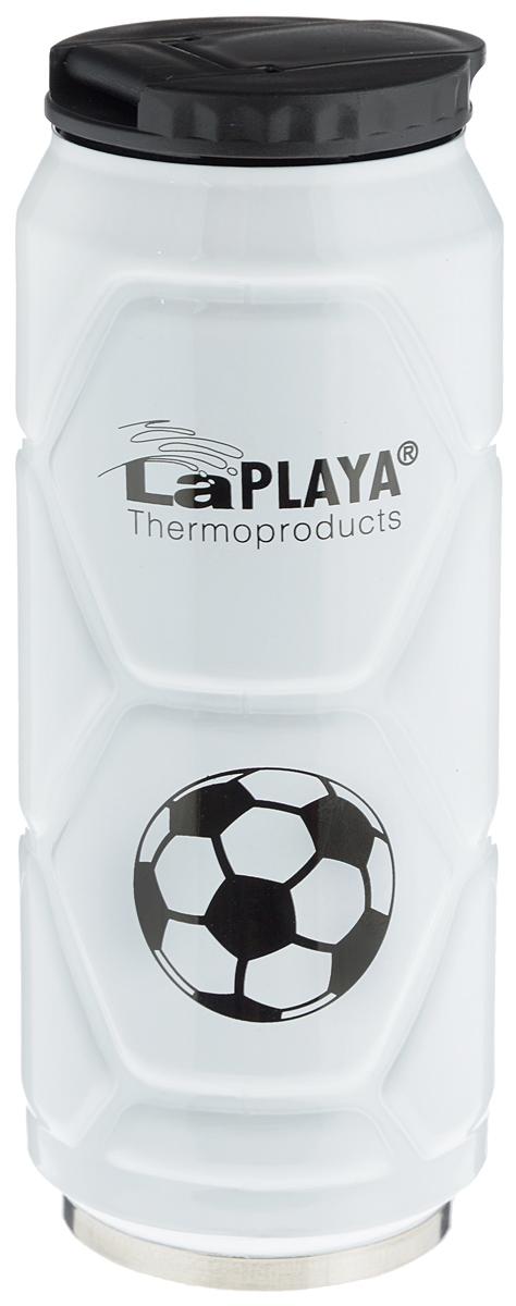 Кружка-термос LaPlaya Football Can, цвет: белый, 500 мл560104Кружка-термос LaPlaya Football Can идеально подходит для сохранения температуры горячих (6 часов) и холодных напитков (12 часов). Кружка имеет двойные стенки из нержавеющей стали и превосходную вакуумную изоляцию. Герметичная и гигиеничная крышка с клапаном легко открывается одной рукой. Изделие имеет компактные размеры, его легко размещать в большинстве автомобильных держателей стаканов или небольших сумках. При открывании стопор предотвращает резкий выход газов и расплескивание напитков. Кружка-термос идеальна для прохладительных газированных напитков. Изделие декорировано рельефом, изображением футболистов и надписью: Goal!. Диаметр горлышка: 6 см. Высота термоса: 19 см.