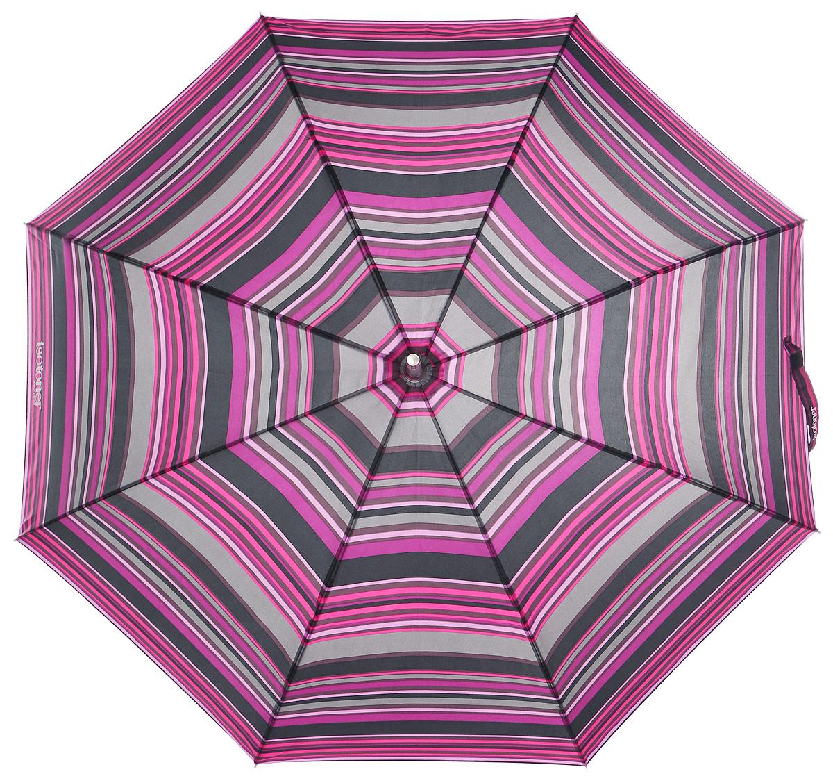 Зонт-трость женский Isotoner, полуавтомат, цвет: серый, фуксия. 09272-333809272-3338_ПолосаОригинальный зонт-трость Isotoner оформлен полосатым принтом и символикой бренда. Каркас зонта содержит восемь спиц из алюминия и стеклопластика, а также дополнен удобной рукояткой. Полуавтоматический зонт открывается нажатием на кнопку и складывается вручную. Купол зонта выполнен из прочного полиэстера. Стильный зонт - незаменимая вещь в гардеробе каждой модницы. Он не только надежно защитит от дождя, но и станет прекрасным дополнением к вашему образу.