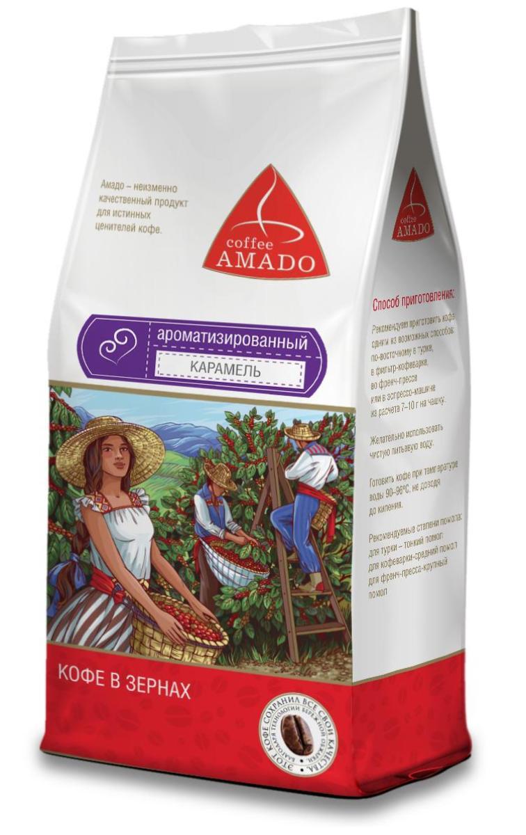 AMADO Карамель кофе в зернах, 500 г4607064131952AMADO Карамель - сочетание яркого насыщенного вкуса кофе со сладким ароматом карамели. Напиток производится на основе отборных зерен сорта арабика с добавлением натуральных ароматизаторов. Вкус получаемого напитка в полной мере соответствует его названию - он наполнен восхитительными нотами свежей карамели и ванили.