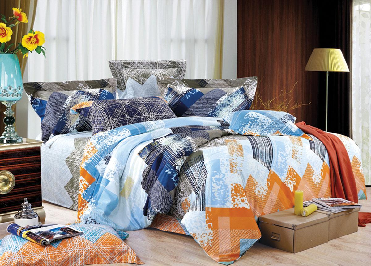 """ТД """"Текстиль"""" Комплект белья Primavera """"Classic. День Ночь"""", евро, наволочки 70x70, цвет: голубой"""