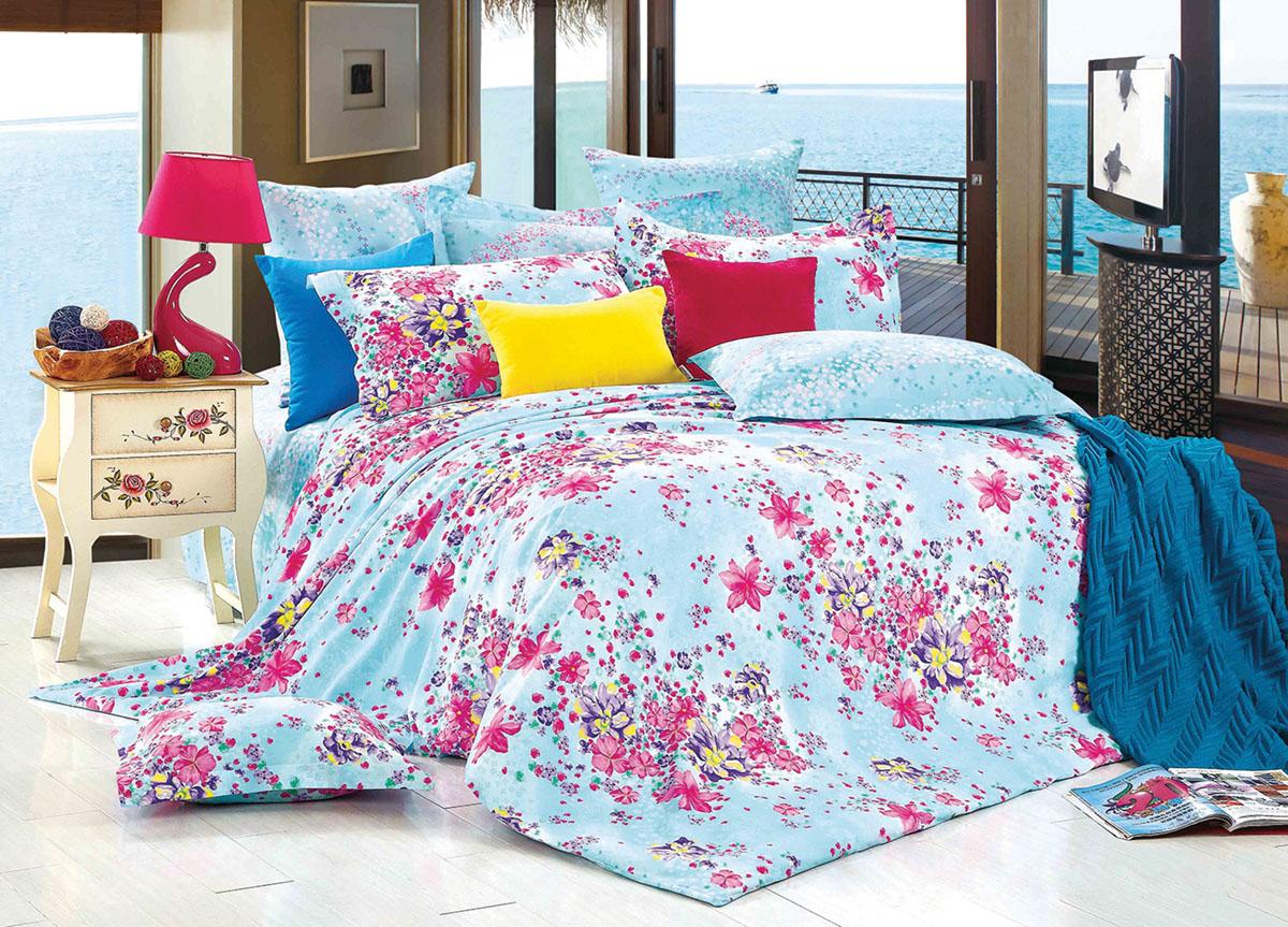 """ТД """"Текстиль"""" Комплект белья Primavera """"Classic. Весеннее настроение"""", евро, наволочки 70x70, цвет: голубой"""