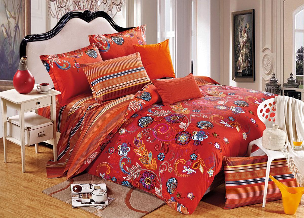 Комплект белья Primavera Classic. Хохлома, 2-спальный, наволочки 70x70, цвет: красный73003Наволочки с декоративным кантом особенно подойдут, если вы предпочитаете класть подушки поверх покрывала. Кайма шириной 5-10см с трех или четырех сторон делает подушки визуально более объемными, смотрятся они очень аккуратно, даже парадно. Еще такие наволочки называют оксфордскими или наволочками «с ушками». Сатин – прочная и плотная ткань с диагональным переплетением нитей. Хлопковый сатин по мягкости и гладкости уступает атласу, зато не будет соскальзывать с кровати. Сатиновое постельное белье легко переносит стирку в горячей воде, не выцветает. Прослужит комплект из обычного сатина меньше, чем из сатина повышенной плотности, но дольше белья из любой другой хлопковой ткани. Сатин приятен на ощупь, под ним комфортно спать летом и зимой. Производство «Примавера» находится в Китае, что позволяет сократить расходы на доставку хлопка. Поэтому цены на это постельное белье более чем скромные и это не сказывается на качестве. Сатин очень гладкий, мягкий, но при этом, невероятно прочный....