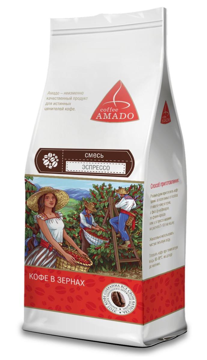 AMADO Эспрессо кофе в зернах, 200 г4607064130368Эспрессо, приготовленный из этой смеси, обладает ярким вкусом, плотной бархатистой консистенцией, фруктовым ароматом и долгим послевкусием с оттенком шоколада. Рекомендуемый способ приготовления: по-восточному, френч-пресс, фильтр-кофеварка, эспрессо-машина.