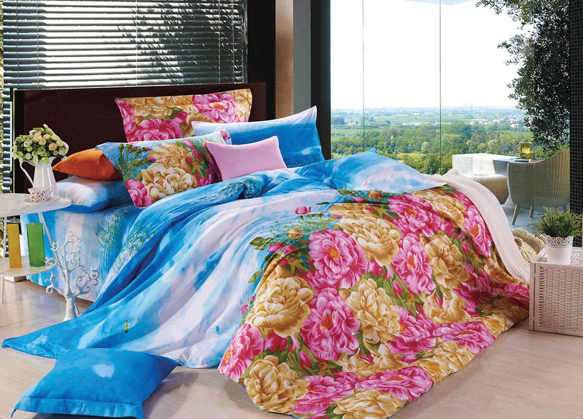 Комплект белья Primavera Classic Цветы в облаках, 2-спальный, наволочки 70x70, цвет: голубой, белый, розовый73046Комплект постельного белья Primavera Classic Цветы в облаках является экологически безопасным для всей семьи, так как выполнен из высококачественного сатина (100% хлопка). Комплект состоит из пододеяльника на молнии, простыни и двух наволочек. Постельное белье оформлено ярким рисунком цветов и имеет изысканный внешний вид. Сатин - производится из высших сортов хлопка, а своим блеском и легкостью напоминает шелк. Постельное белье из сатина превращает жаркие летние ночи в прохладные и освежающие, а холодные зимние - в теплые и согревающие. Приобретая комплект постельного белья Primavera Classic Цветы в облаках, вы можете быть уверенны в том, что покупка доставит вам и вашим близким удовольствие и подарит максимальный комфорт.