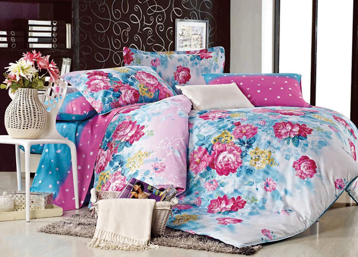 """ТД """"Текстиль"""" Комплект белья Primavera """"Classic. Летние цветы"""", евро, наволочки 70x70, цвет: голубой"""