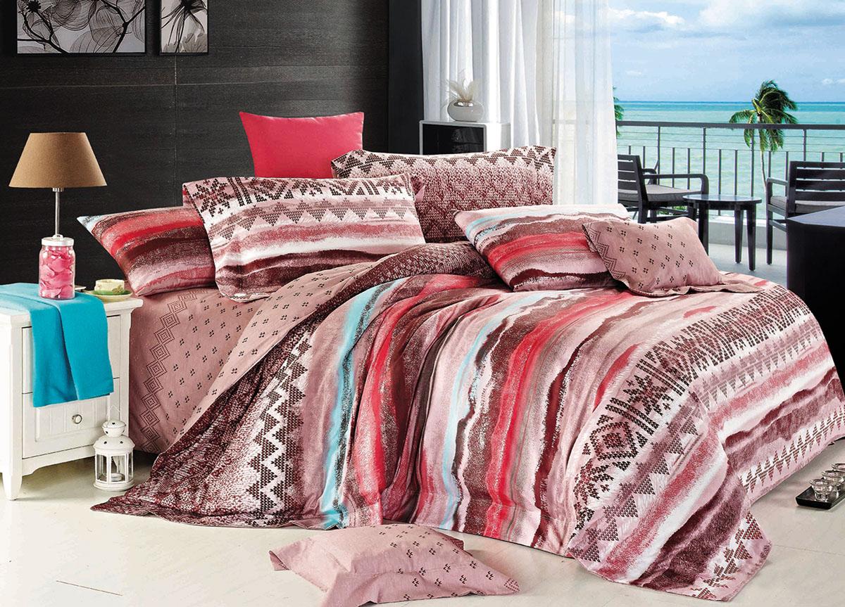 """ТД """"Текстиль"""" Комплект белья Primavera """"Classic. Закат"""", евро, наволочки 70x70, цвет: коричневый"""