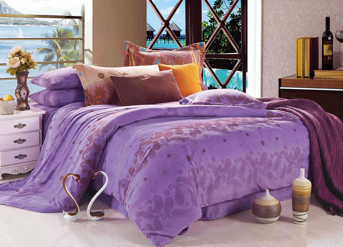 "ТД ""Текстиль"" Комплект белья Primavera ""Classic. Вечерний звон"", евро, наволочки 70x70, цвет: фиолетовый"