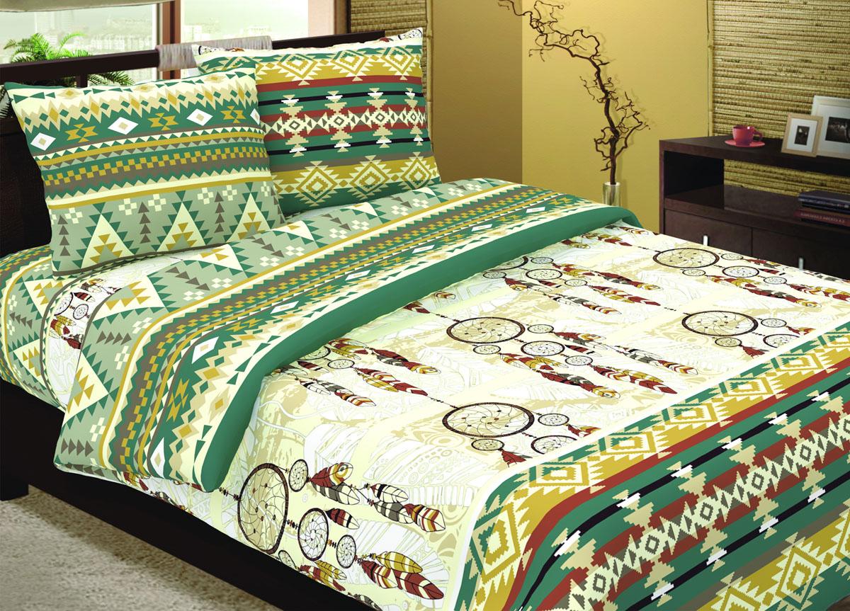 Комплект белья Primavera Ловец снов, 1,5-спальный, наволочки 70x70, цвет: зеленый85851Наволочки с декоративным кантом особенно подойдут, если вы предпочитаете класть подушки поверх покрывала. Кайма шириной 5-10см с трех или четырех сторон делает подушки визуально более объемными, смотрятся они очень аккуратно, даже парадно. Еще такие наволочки называют оксфордскими или наволочками «с ушками». Сатин – прочная и плотная ткань с диагональным переплетением нитей. Хлопковый сатин по мягкости и гладкости уступает атласу, зато не будет соскальзывать с кровати. Сатиновое постельное белье легко переносит стирку в горячей воде, не выцветает. Прослужит комплект из обычного сатина меньше, чем из сатина повышенной плотности, но дольше белья из любой другой хлопковой ткани. Сатин приятен на ощупь, под ним комфортно спать летом и зимой. Производство «Примавера» находится в Китае, что позволяет сократить расходы на доставку хлопка. Поэтому цены на это постельное белье более чем скромные и это не сказывается на качестве. Сатин очень гладкий, мягкий, но при этом, невероятно прочный....