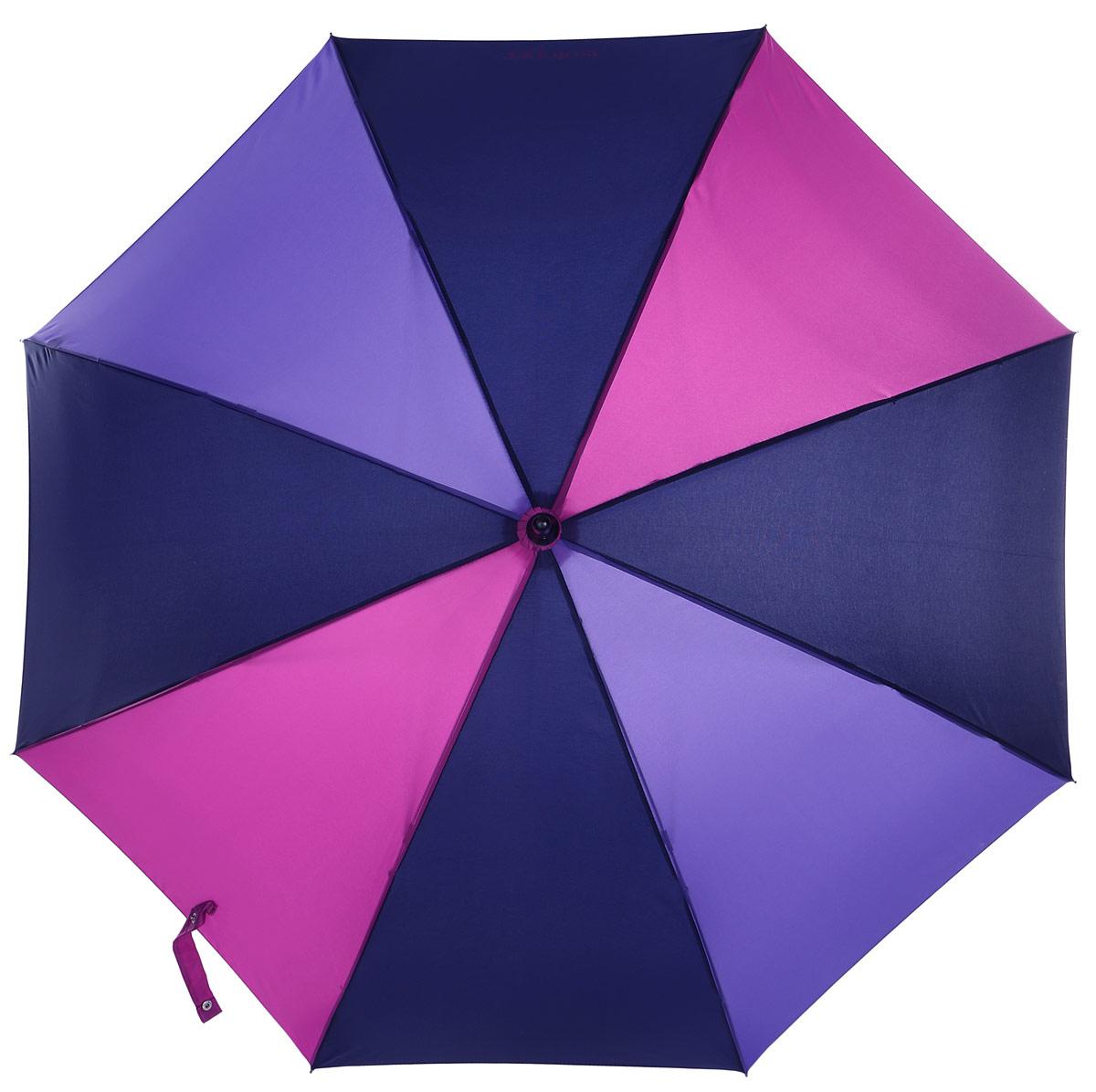 Зонт-трость женский Isotoner, полуавтомат, цвет: черный, сиреневый, фуксия. 09457-329609457-3296_ПолосаПолуавтоматический зонт-трость Isotoner оформлен тремя оттенками. Он оснащен надежным металлическим каркасом с восьмью спицами из алюминия и стеклопластика. Купол изготовлен из полиэстера. Модель застегивается с помощью хлястика на кнопку. Эргономичная рукоятка выполнена из пластика с приятным на ощупь покрытием. Такой зонт не только надежно защитит вас от дождя, но и станет стильным аксессуаром, который идеально подчеркнет ваш образ.