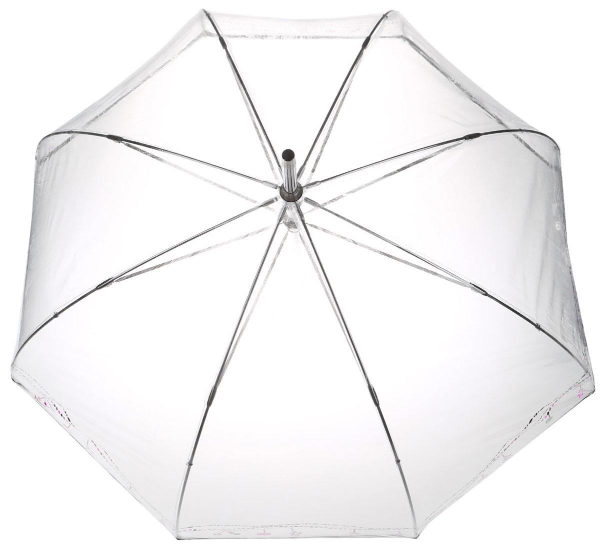 Зонт-трость женский Isotoner, механический, цвет: прозрачный, серый, черный, фуксия. 09309-475109309-4751_капелькиОригинальный зонт-трость Isotoner оформлен абстрактным принтом символикой бренда. Каркас зонта содержит восемь спиц из алюминия и стеклопластика, а также дополнен удобной рукояткой. Механический зонт открывается и складывается вручную. Купол зонта выполнен из прозрачного поливинилхлорида. Стильный зонт - незаменимая вещь в гардеробе каждой модницы. Он не только надежно защитит от дождя, но и станет прекрасным дополнением к вашему образу.