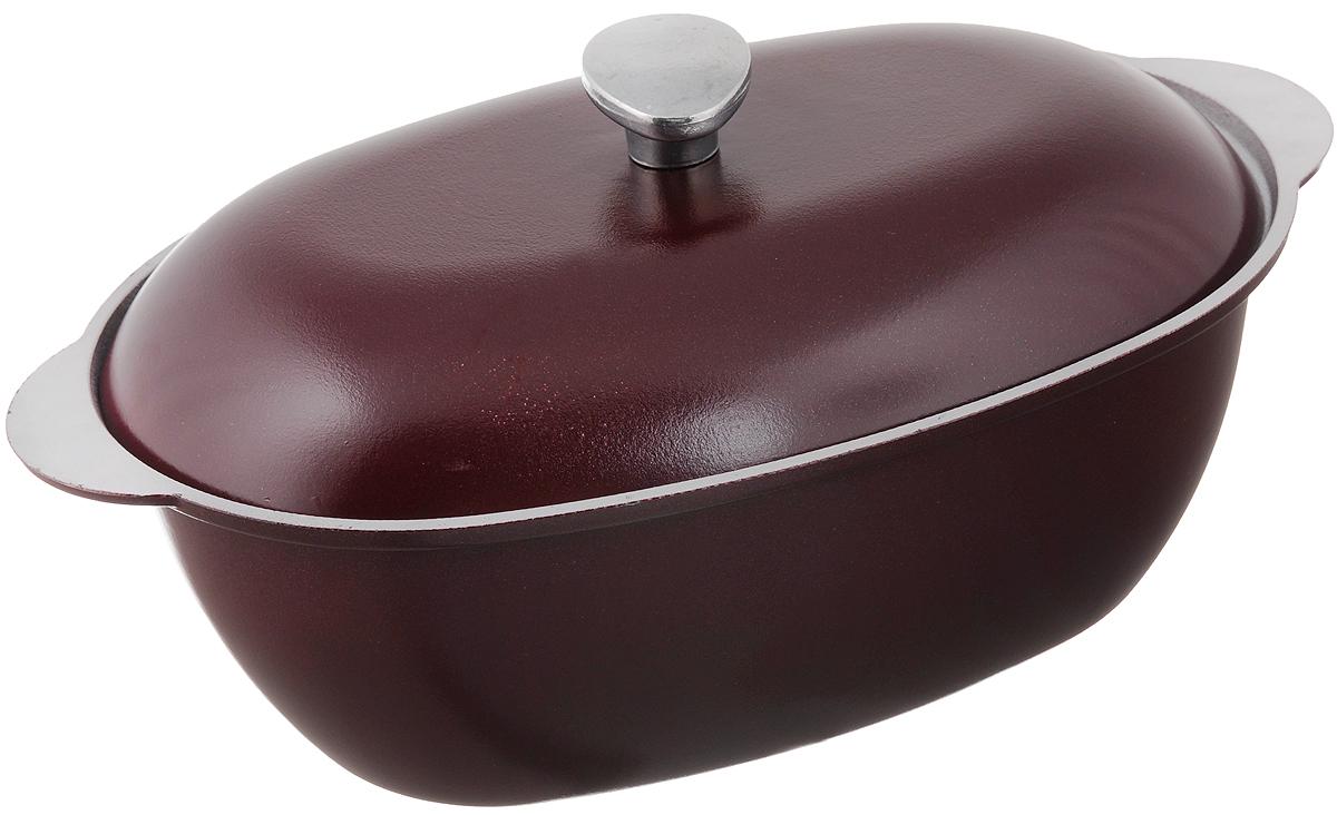 Гусятница Биол с крышкой, цвет: бордовый, 6 лГ0600ДГусятница Биол, выполненная из высококачественного литого алюминия, оснащена крышкой. Благодаря особой конструкции корпуса в гусятнице замечательно готовить томленые блюда. Она равномерно прогревается и долго удерживает тепло. Приготовленное блюдо получается особенно вкусным, а в продуктах сохраняется больше полезных веществ. Гусятница не подвержена деформации, легко моется. Подходит для газовых, электрических и стеклокерамических плит. Не подходит для индукционных плит. Размер гусятницы (без учета крышки): 40,7 х 24,2 х 13,2 см. Объем: 6 л.