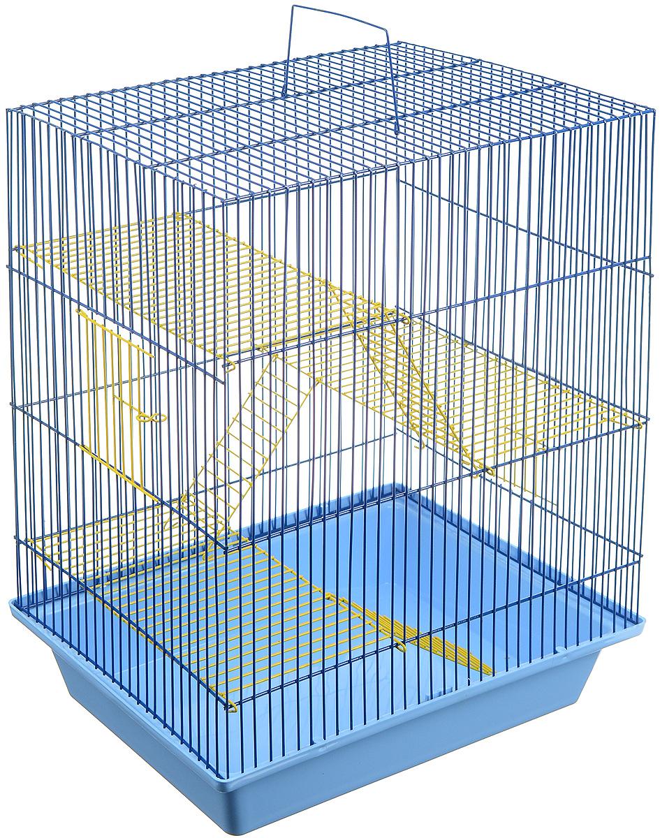 Клетка для грызунов ЗооМарк Гризли, 4-этажная, цвет: голубой поддон, синяя решетка, желтые этажи, 41 х 30 х 50 см. 240ж240ж_голубой, желтый, синийКлетка ЗооМарк Гризли, выполненная из полипропилена и металла, подходит для мелких грызунов. Изделие четырехэтажное. Клетка имеет яркий поддон, удобна в использовании и легко чистится. Сверху имеется ручка для переноски. Такая клетка станет уединенным личным пространством и уютным домиком для маленького грызуна.