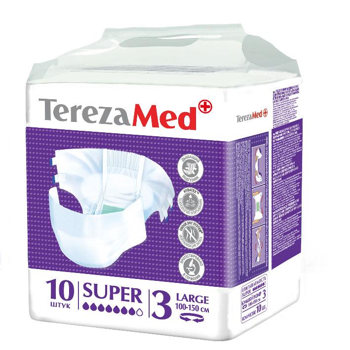 TerezaMed Подгузники для взрослых Super Large (№3) 10 шт5414874007822Подгузники TerezaMed Extra Medium предназначены для больных недержанием средней тяжести. Подгузник выполнен из мягкого дышашего материала, который пропускает пары влаги. Это позволяет коже пациента под подгузником дышать, а так же снижает риск появления опрелостей. Ядро подгузника состоит из натурального материала - целлюлозы, в которую добавлен суперабсорбент, впитывающий жидкость в больших количествах и обладающий свойством подавлять развитие неприятного запаха. Зеленый распределительный слой эффективно впитывает жидкость и распределяет ее внутри подгузника, тем самым снижая риск появления протечек. Резиночка на спинке более надежно фиксирует подгузник на талии. Крепление подгузника по бокам обеспечивается липучками типа замочек+липучка, что позволяет многократно их приклеивать и отклеивать. Боковые бортики вокруг ног сделаны из гидрофобного материала и надежно запирают жидкость внутри. Специальные запатентованные технологии (Odour Dry system - система нейтрализации запаха;...