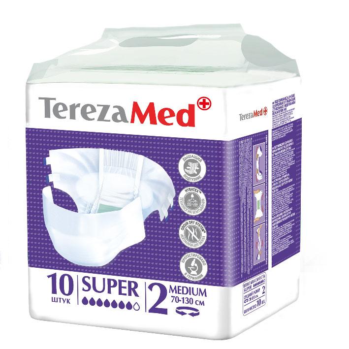 TerezaMed Подгузники для взрослых Super Medium (№2) 10 шт5414874007808Подгузники TerezaMed Extra Medium предназначены для больных недержанием средней тяжести. Подгузник выполнен из мягкого дышашего материала, который пропускает пары влаги. Это позволяет коже пациента под подгузником дышать, а так же снижает риск появления опрелостей. Ядро подгузника состоит из натурального материала - целлюлозы, в которую добавлен суперабсорбент, впитывающий жидкость в больших количествах и обладающий свойством подавлять развитие неприятного запаха. Зеленый распределительный слой эффективно впитывает жидкость и распределяет ее внутри подгузника, тем самым снижая риск появления протечек. Резиночка на спинке более надежно фиксирует подгузник на талии. Крепление подгузника по бокам обеспечивается липучками типа замочек+липучка, что позволяет многократно их приклеивать и отклеивать. Боковые бортики вокруг ног сделаны из гидрофобного материала и надежно запирают жидкость внутри. Специальные запатентованные технологии (Odour Dry system - система нейтрализации запаха;...