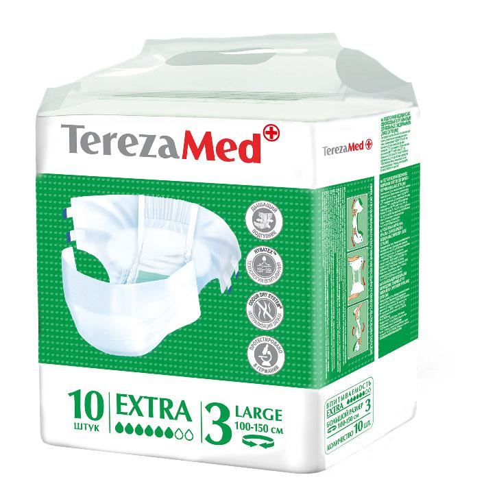 TerezaMed Подгузники для взрослых Extra Large (№3) 10 шт5414874007815Подгузники TerezaMed Extra Medium предназначены для больных недержанием средней тяжести. Подгузник выполнен из мягкого дышашего материала, который пропускает пары влаги. Это позволяет коже пациента под подгузником дышать, а так же снижает риск появления опрелостей. Ядро подгузника состоит из натурального материала - целлюлозы, в которую добавлен суперабсорбент, впитывающий жидкость в больших количествах и обладающий свойством подавлять развитие неприятного запаха. Зеленый распределительный слой эффективно впитывает жидкость и распределяет ее внутри подгузника, тем самым снижая риск появления протечек. Резиночка на спинке более надежно фиксирует подгузник на талии. Крепление подгузника по бокам обеспечивается липучками типа замочек+липучка, что позволяет многократно их приклеивать и отклеивать. Боковые бортики вокруг ног сделаны из гидрофобного материала и надежно запирают жидкость внутри. Специальные запатентованные технологии (Odour Dry system - система нейтрализации запаха;...