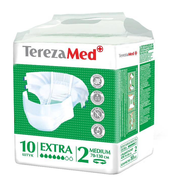 TerezaMed Подгузники для взрослых Extra Medium (№2) 10 шт5414874007792Подгузники TerezaMed Extra Medium предназначены для больных недержанием средней тяжести. Подгузник выполнен из мягкого дышашего материала, который пропускает пары влаги. Это позволяет коже пациента под подгузником дышать, а так же снижает риск появления опрелостей. Ядро подгузника состоит из натурального материала - целлюлозы, в которую добавлен суперабсорбент, впитывающий жидкость в больших количествах и обладающий свойством подавлять развитие неприятного запаха. Зеленый распределительный слой эффективно впитывает жидкость и распределяет ее внутри подгузника, тем самым снижая риск появления протечек. Резиночка на спинке более надежно фиксирует подгузник на талии. Крепление подгузника по бокам обеспечивается липучками типа замочек+липучка, что позволяет многократно их приклеивать и отклеивать. Боковые бортики вокруг ног сделаны из гидрофобного материала и надежно запирают жидкость внутри. Специальные запатентованные технологии (Odour Dry system - система нейтрализации запаха;...