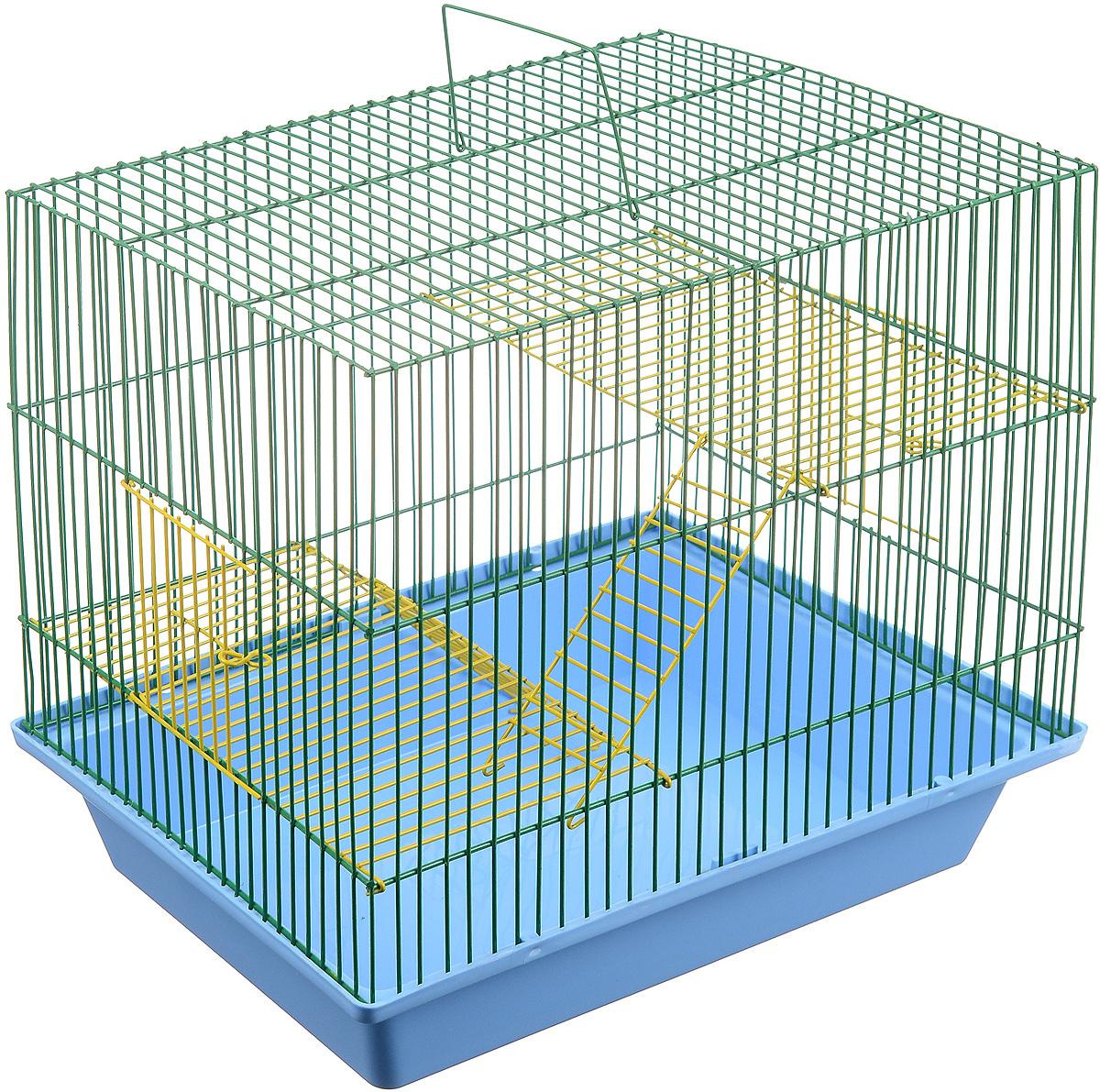 Клетка для грызунов ЗооМарк Гризли, 3-этажная, цвет: голубой поддон, зеленая решетка, желтые этажи, 41 х 30 х 36 см. 230ж230ж_голубойКлетка ЗооМарк Гризли, выполненная из полипропилена и металла, подходит для мелких грызунов. Изделие трехэтажное. Клетка имеет яркий поддон, удобна в использовании и легко чистится. Сверху имеется ручка для переноски. Такая клетка станет уединенным личным пространством и уютным домиком для маленького грызуна.