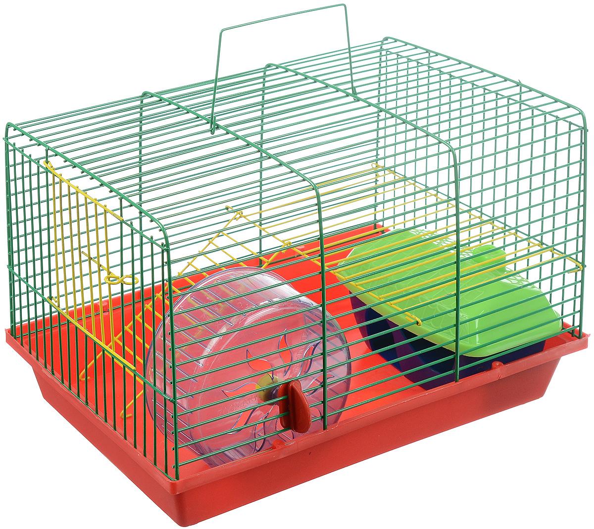 Клетка для грызунов ЗооМарк, 2-этажная, цвет: красный поддон, зеленая решетка, желтый этаж, 36 х 22 х 24 см. 125ж125ж_красный, желтый, зеленыйКлетка ЗооМарк, выполненная из полипропилена и металла, подходит для мелких грызунов. Изделие двухэтажное, оборудовано колесом для подвижных игр и пластиковым домиком. Клетка имеет яркий поддон, удобна в использовании и легко чистится. Сверху имеется ручка для переноски. Такая клетка станет уединенным личным пространством и уютным домиком для маленького грызуна.