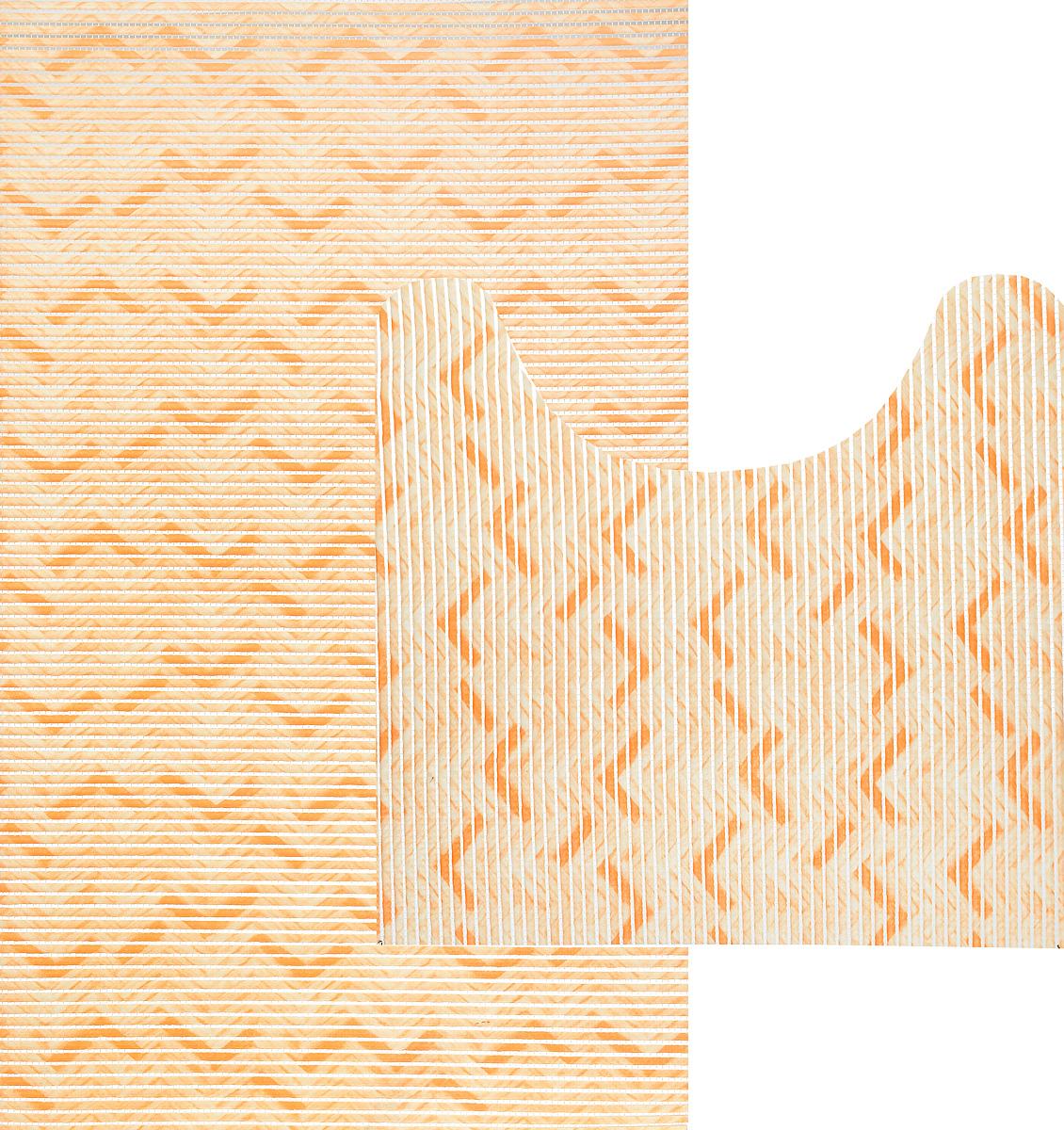 Комплект ковриков для ванной Fresh Code Зигзаг, цвет: светло-оранжевый, 2 предмета. 61261216_ оранжевый, зигзагКомплект Fresh Code Зигзаг состоит из коврика для ванной комнаты и туалета. Коврики выполнены из мягкого ПВХ с шероховатой антискользящей поверхностью, которая создает комфортное покрытие в ванной комнате. Поверхность ковриков перфорирована. Изделия оформлены оригинальным рисунком. Рекомендации по уходу: протрите коврик влажной губкой с моющим средством, тщательно ополосните чистой водой и просушите. Набор для ванной Fresh Code Зигзаг подарит ощущение тепла и комфорта, а также привнесет уют в вашу ванную комнату. Размер коврика для ванной комнаты: 48 х 80 см. Размер коврика для туалета: 48 х 48 см.