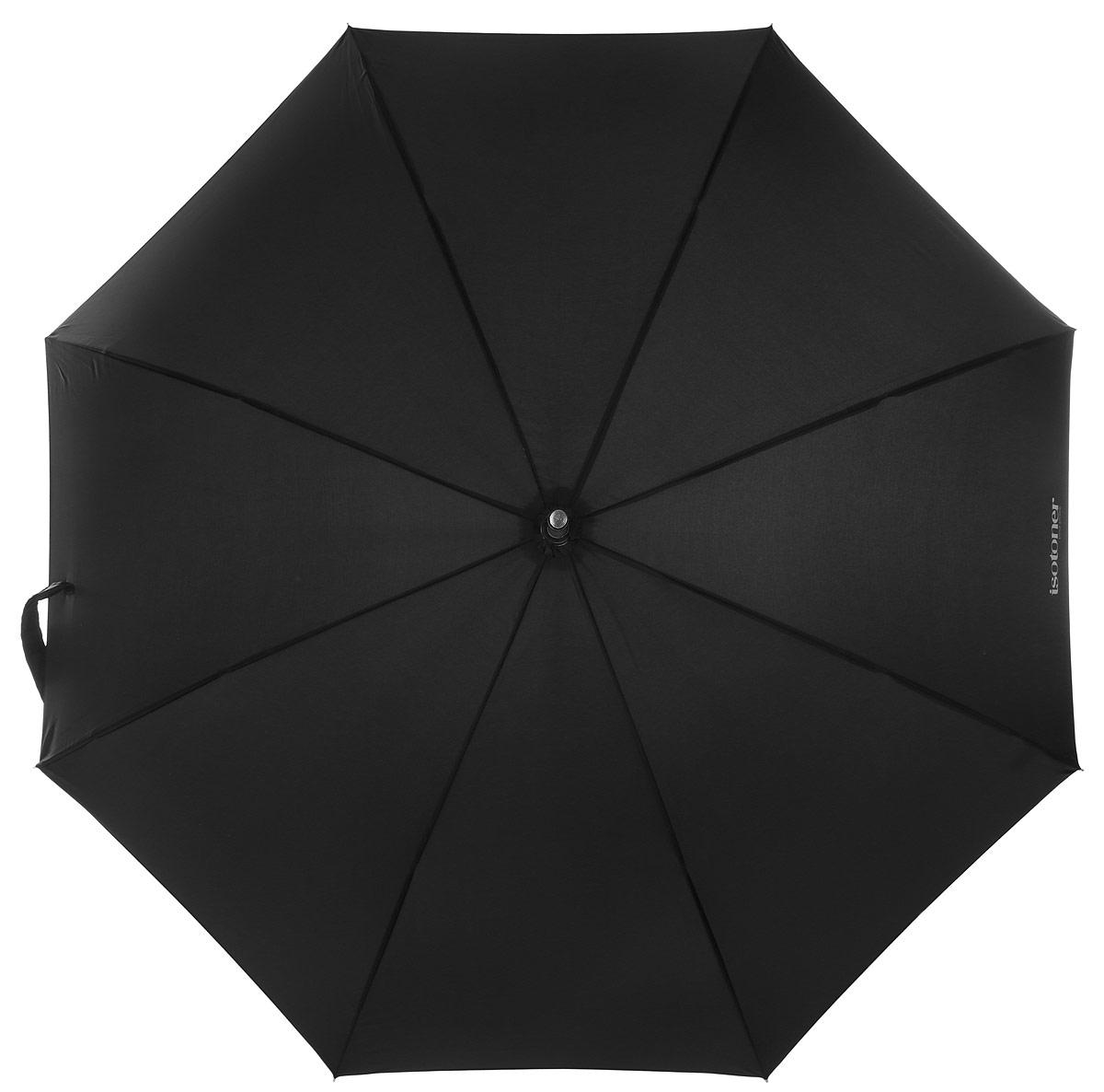 Зонт-трость Isotoner, полуавтомат, цвет: черный. 09272-730709272-7307_Классический зонт-трость Isotoner оформлен символикой бренда. Каркас зонта содержит восемь спиц из алюминия и стеклопластика, а также дополнен удобной рукояткой. Зонт имеет полуавтоматический механизм: купол открывается нажатием кнопки на рукоятке и складывается вручную. Купол зонта выполнен из прочного полиэстера. Стильный зонт - незаменимая вещь в гардеробе каждого человека. Он не только надежно защитит от дождя, но и станет прекрасным дополнением к вашему образу.