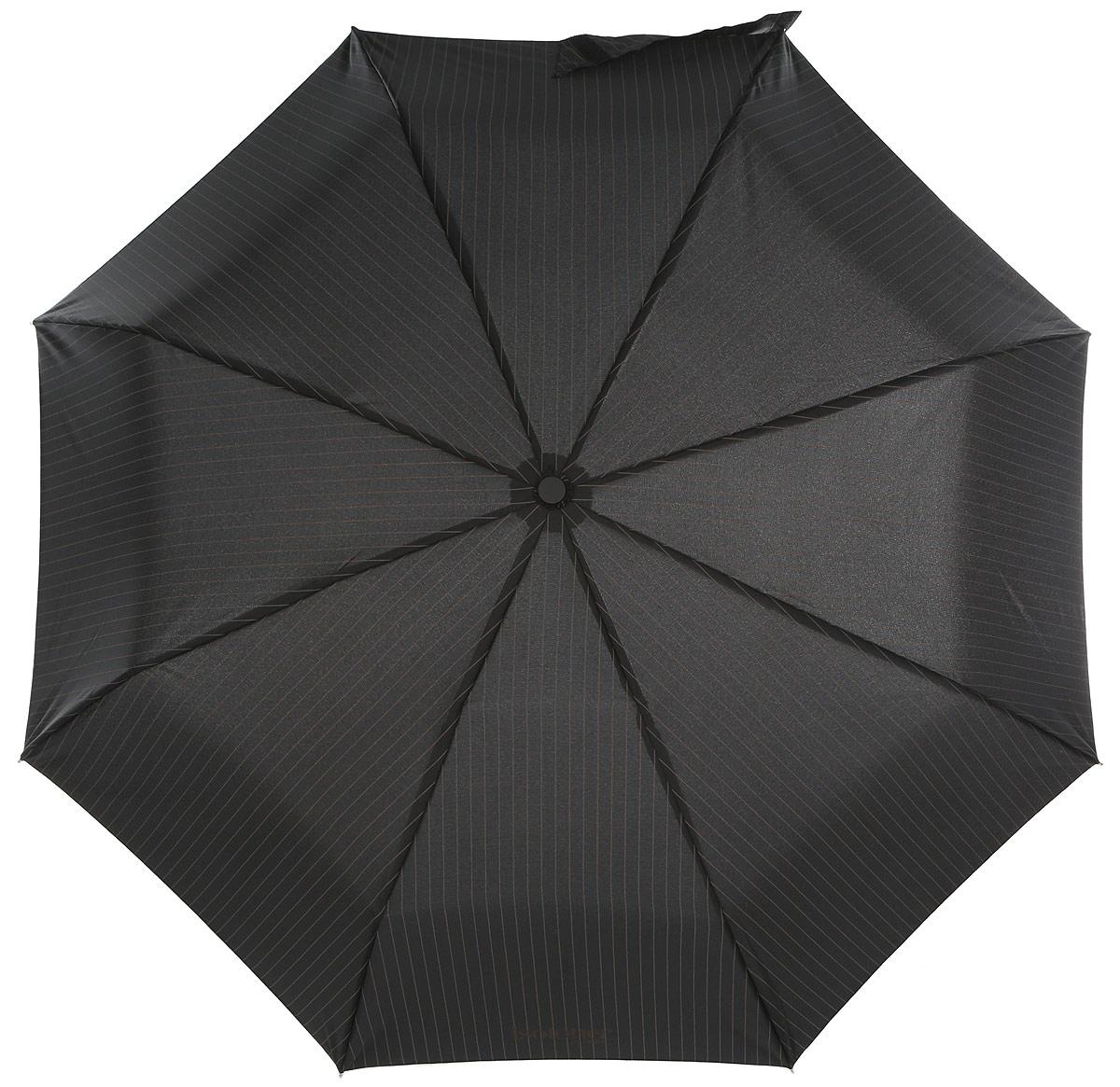 Зонт мужской Isotoner, автомат, 3 сложения, цвет: черный, коричневый. 09379-109379-1_ПолосаСтильный автоматический зонт Isotoner с технологией X-tra Solide оформлен принтом полоска. Зонт оснащен надежным металлическим каркасом с восьмью спицами из алюминия и стекловолокна. Купол изготовлен из прочного полиэстера. Зонт имеет автоматический механизм сложения: купол открывается и закрывается нажатием кнопки на рукоятке, стержень складывается вручную до характерного щелчка, благодаря чему открыть зонт можно одной рукой, что чрезвычайно удобно при выходе из транспорта или помещения. Эргономичная рукоятка из пластика дополнена эластичной петлей. К зонту прилагается чехол. Такой зонт не только надежно защитит вас от дождя, но и станет стильным аксессуаром, который идеально подчеркнет ваш образ.