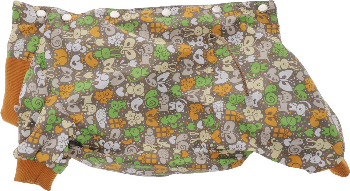 Комбинезон для собак Yoriki Звери, для девочки, цвет: темно-серый, оранжевый. Размер L168-23Комбинезон для собак Yoriki Звери отлично подойдет для прогулок в прохладную погоду осенью или весной. Верх комбинезона выполнен из водоотталкивающего полиэстера. Подкладка изготовлена из мягкой вискозы. Низ рукавов и брючин оснащен широкими стильными манжетами. Застегивается комбинезон на спинке на кнопки и дополнительно на пояснице затягивается шнурком. Благодаря такому комбинезону вашему питомцу будет комфортно наслаждаться прогулкой.