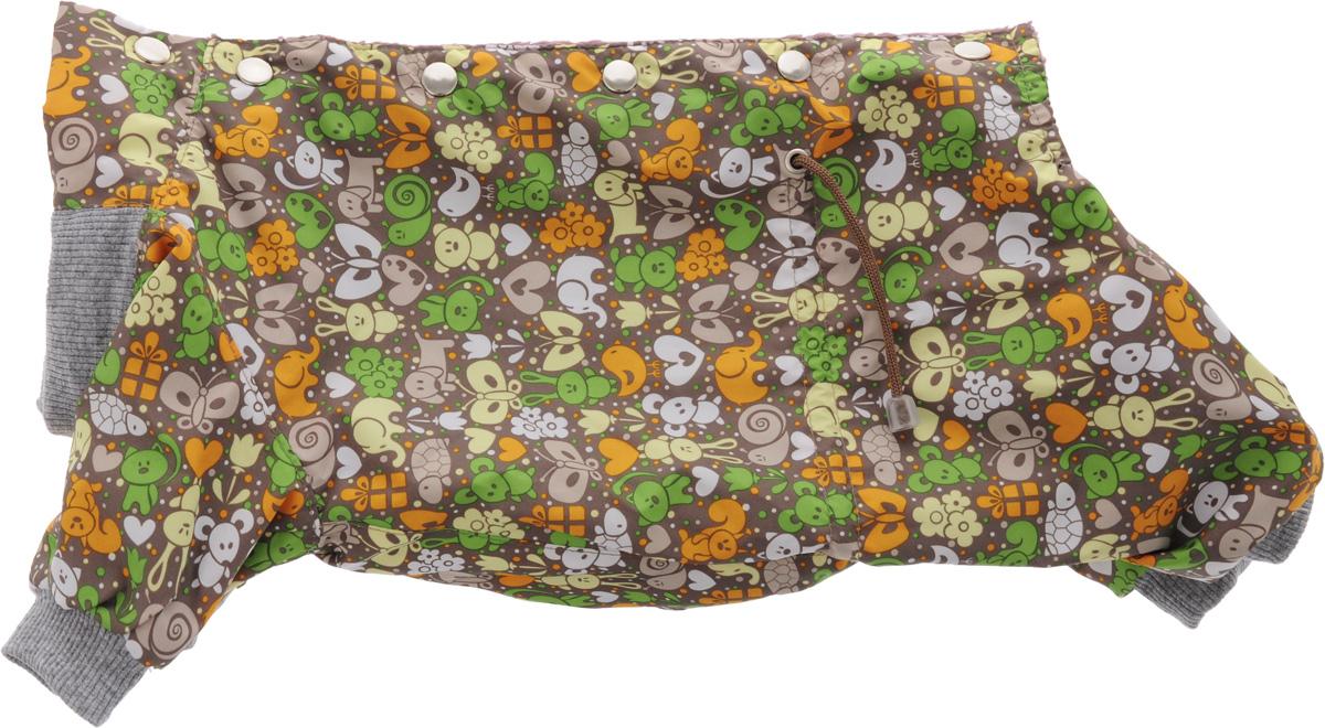 Комбинезон для собак Yoriki Звери, для мальчика, цвет: серый, сиреневый. Размер L168-13Комбинезон для собак Yoriki Звери отлично подойдет для прогулок в прохладную погоду осенью или весной. Верх комбинезона выполнен из водоотталкивающего полиэстера. Подкладка изготовлена из мягкой вискозы. Низ рукавов и брючин оснащен широкими стильными манжетами. Застегивается комбинезон на спинке на кнопки и дополнительно на пояснице затягивается шнурком. Благодаря такому комбинезону вашему питомцу будет комфортно наслаждаться прогулкой.
